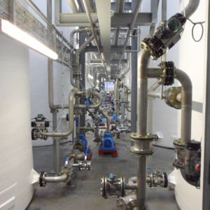 Additional view of assortment of pipework and product transfer pumps