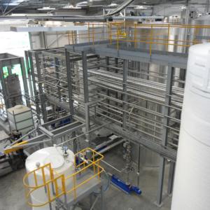 Raw material transfer pipework