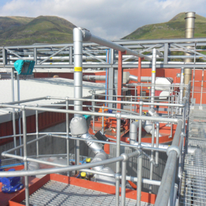 Tank farm infrastructure including trace heated, lagged and clad pipework