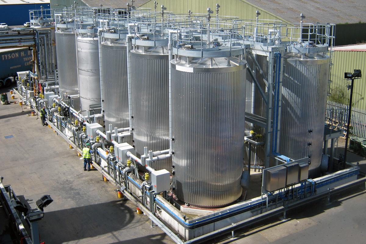 Bulk storage liquid and resin tank farm