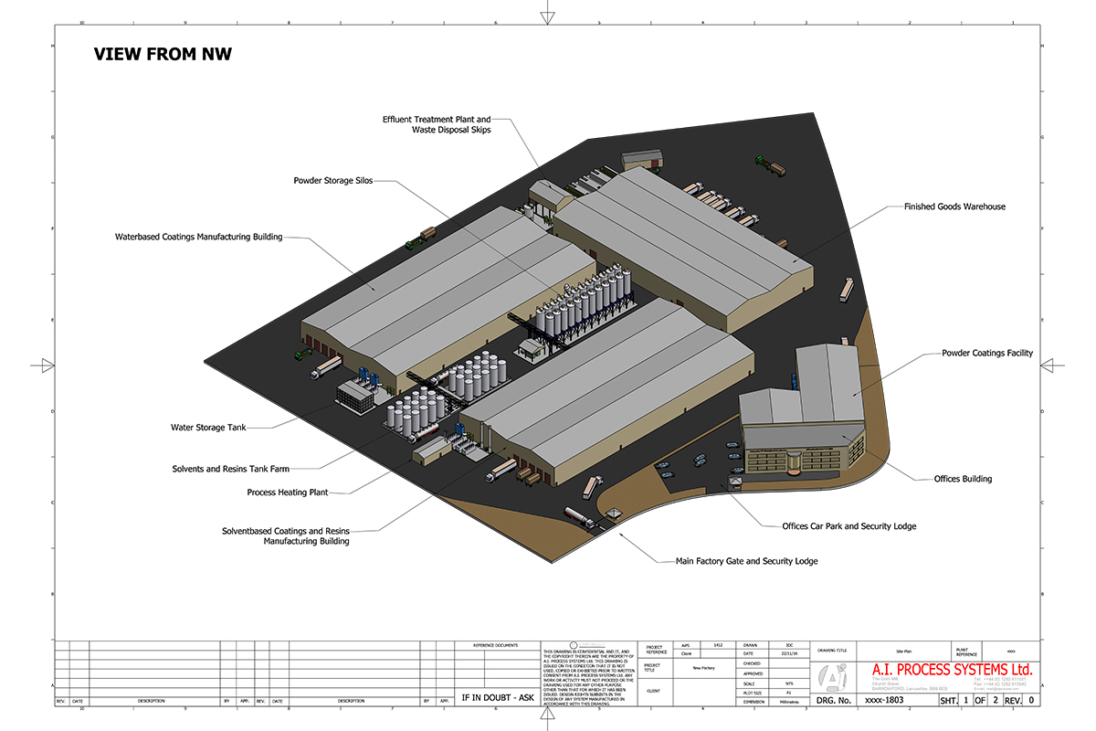 Design overview of manufacturing plant before construction begins
