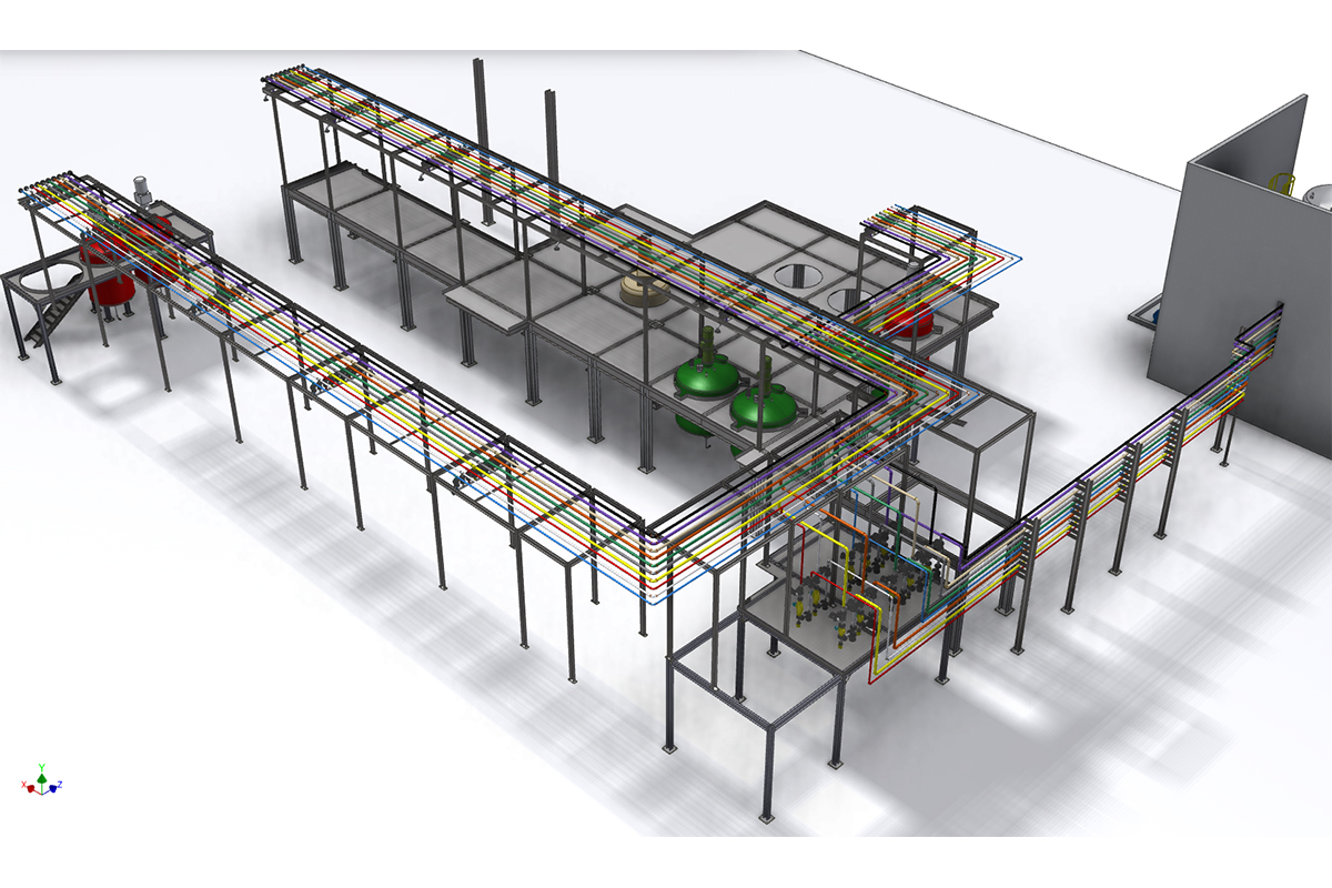 3D design to show part of a manufacturing plant