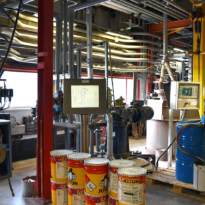 Proposed location for bulk storage mixer pre installation. Note the abundance of pipework and limited available working area. Ensuring suitable space for the project whilst minimising disruption to existing manufacturing was imperative.