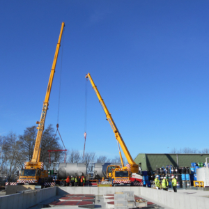 Storage vessels delivered on site via HGV ready to be picked up and placed on plinth