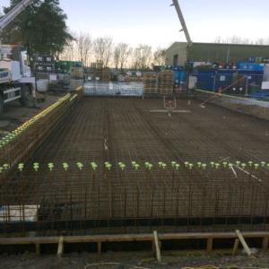 Bund construction underway – pumping concrete